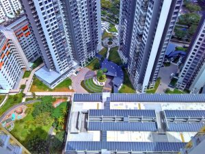 Bird's eye view of residential area of Clementi, Singapore with multistorey apartments, walkways and gardens